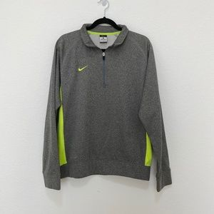 Nike Mens Half Zip Gray Sweater Pullover w Yellow Neon Details Size L